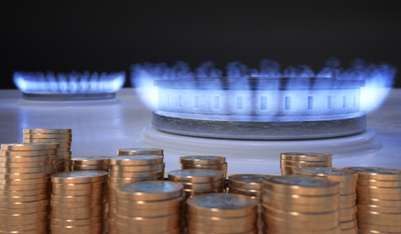 Flame from gas burner and money in front. 3D rendered illustration.