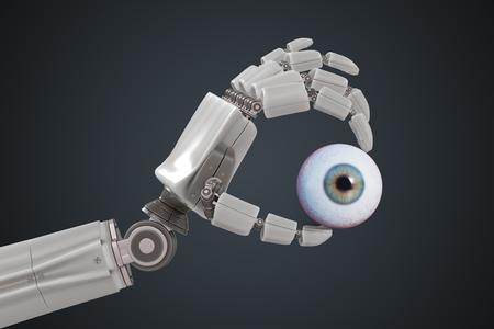 Robotic hand is holding human eyeball. 3D rendered illustration.