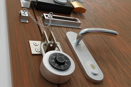 Safety and security concept. Door with many locks. 3D rendered illustration. Standard-Bild