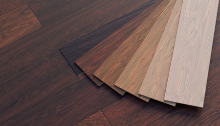 Color samples of wooden laminate floor. 3D rendered illustration. Archivio Fotografico - 119806268