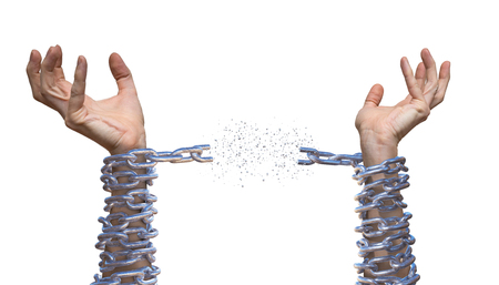Handen breken ketting. Slavernij concept. Geïsoleerd op een witte achtergrond. Stockfoto