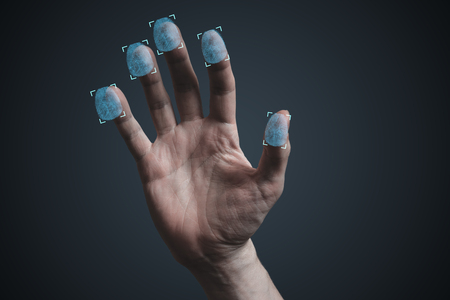 Scanning fingerprints from hand. Security and biometric concept.