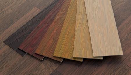 Color samples of wooden laminate floor. 3D rendered illustration. Stock Photo