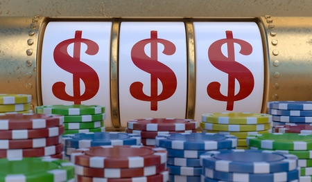 Slot machine in casino showing winning dollar signs. 3D rendered illustration.