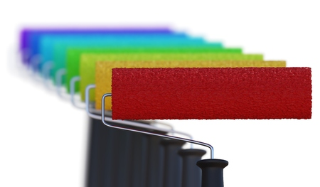 Many different colored paint rollers. 3D rendered illustration. Stockfoto