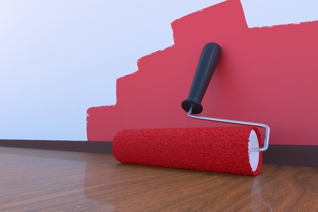 Paint roller with red color indoors. Room painting concept. 3D rendered illustration. Stockfoto
