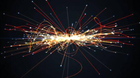Colisión de partículas en el Colisionador de Hadrones. Concepto de astrofísica. Ilustración 3D prestados.
