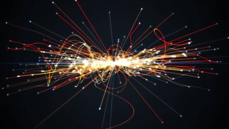 Particles collision in Hadron Collider. Astrophysics concept. 3D rendered illustration. Banco de Imagens
