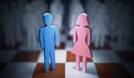 Man and woman standing on chess board. Gender equality concept. 3D rendered illustration.