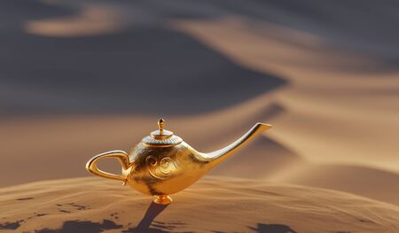Magical Aladdin lamp with genie. Desert in background. 3D rendered illustration.