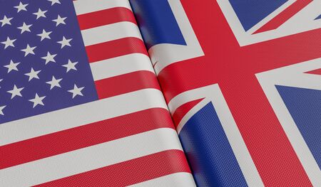 USA and Great Britain flags. 3D rendered illustration. Stok Fotoğraf