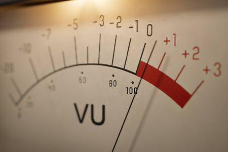 Analog VU meter measuring volume level of sound. 3D rendered illustration.