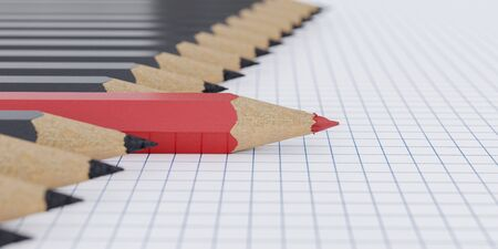 One red pencil and other black pencils in a row. 3D rendered illustration.