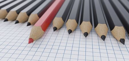 Multiple pencils in a row. One red pencil is different than others. 3D rendered illustration.