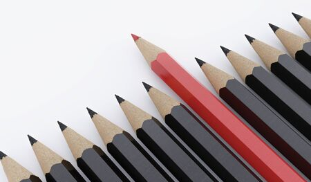 One red pencil and many black pencils on white background. 3D rendered illustration. Stock fotó