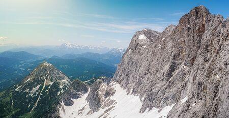 Panoramatic view from peak of Dachstein am Ramsau mountain in Alps in Austria. Reklamní fotografie