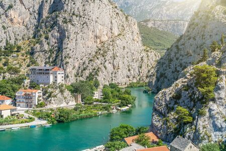 Cliffs near Cetina river in Omis in Croatia. Panoramatic view on Dalmatian mountains.