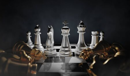 Victory in chess. Many dead pieces around. 3D rendered illustration.