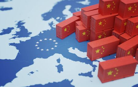 Chinese cargo containers on map of Europe. Import of chenese goods concept. 3D rendered illustration. Stock fotó