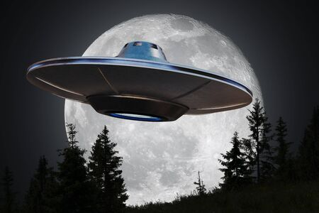 Alien spaceship (UFO) is flying at night. Moon in background. Stock Photo