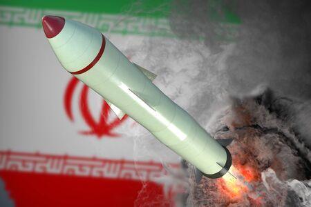 Launch of missile. Iran flag in background. 3D rendered illustration. Banco de Imagens
