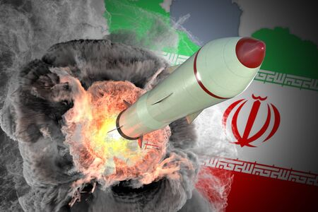 Launch of missile from Iran. 3D rendered illustration. Banco de Imagens