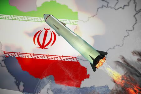 Launch of missile. Iran flag and map in background. 3D rendered illustration.