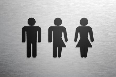 Male, female and third gender toilet symbols. 3D rendered illustration.