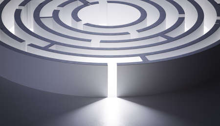 Circular rounded maze. 3D rendered illustration.