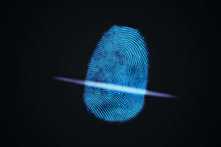 Scanning fingerprint from finger. Biometric and security concept. 3D rendered illustration.