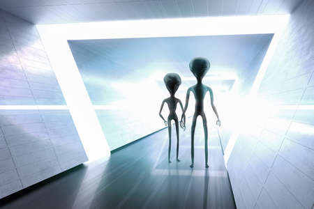 Silhouettes of spooky aliens and bright light in background. 3D rendered illustration.