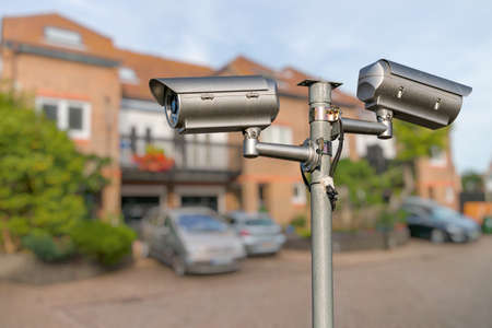 Security CCTV video camera monitoring home.