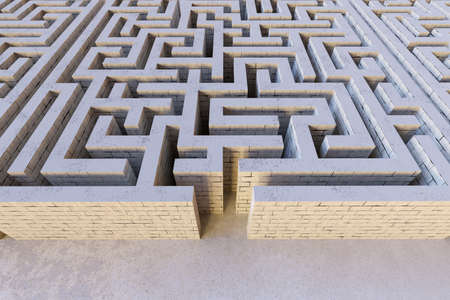 Maze or labyrinth. Strategy and decision making concept. 3D rendered illustration.