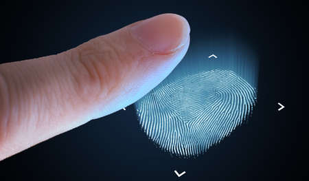 Scanning fingerprint from finger. Biometric and security concept.