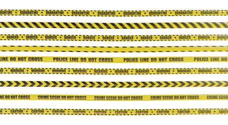 Police line do not cross yellow tape. Isolated on white background. 3D rendered illustration.