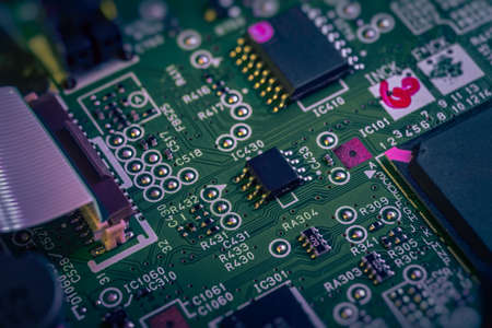 Macro of electronic circuit. Small semiconductors and other electronics.