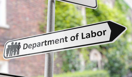 Department of labor sign on street. 3D rendered illustration.