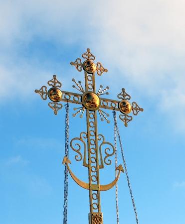 worship service: Orthodox Russia, a cross