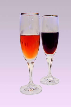 reg: Two glasses of Reg and pink wine Stock Photo
