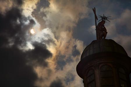 protuberance: Eclipse of the sun 2015 in Lviv Ukraine Stock Photo