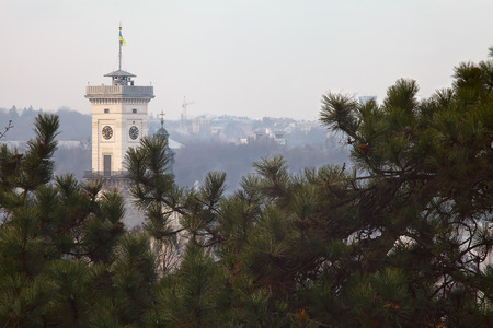 sity: Lviv Sity Tower Ratusha. View from hill Stock Photo