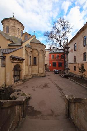 Armenian church square in lviv. Morning view photo