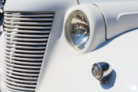 grille: retro white car grille and lights elements Stock Photo