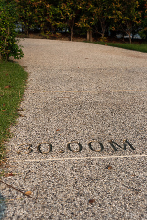distance: Granite background with number distance