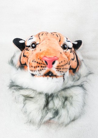 bengal light: Tiger head bag isolated white background Stock Photo