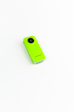 usb various: Green Power Bank isolated background