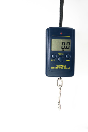 steelyard: Portable Electronic Scale isolated on white background Stock Photo