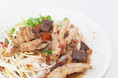 nam: Khanom Jin Nam Ngiao with chicken leg, pork ribs, blood, bean sprouts