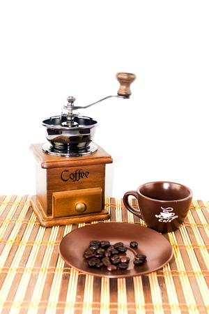coffee blender: coffee equipment set  coffee blender and ceramic cup set Stock Photo