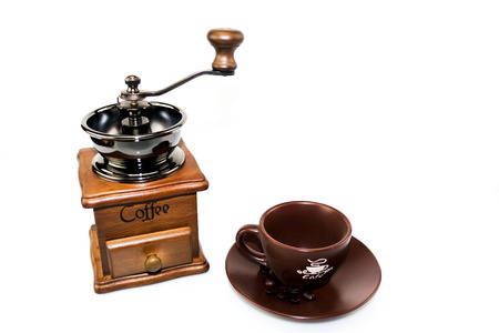 coffee blender: coffee blender and ceramic cup with dish Stock Photo